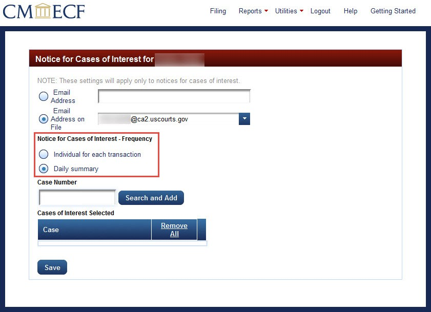 How To Use CM/ECF: How To Receive Notices For Cases Of Interest